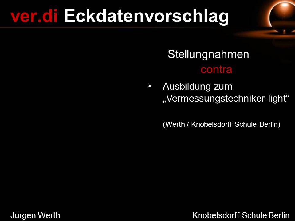 Jürgen Werth Knobelsdorff-Schule Berlin ver.di Eckdatenvorschlag Stellungnahmen contra Ausbildung zum Vermessungstechniker-light (Werth / Knobelsdorff
