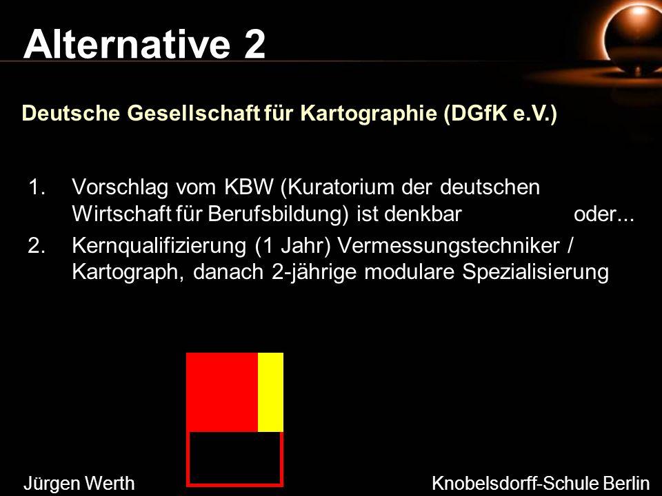 Alternative 2 1.Vorschlag vom KBW (Kuratorium der deutschen Wirtschaft für Berufsbildung) ist denkbar oder... 2.Kernqualifizierung (1 Jahr) Vermessung