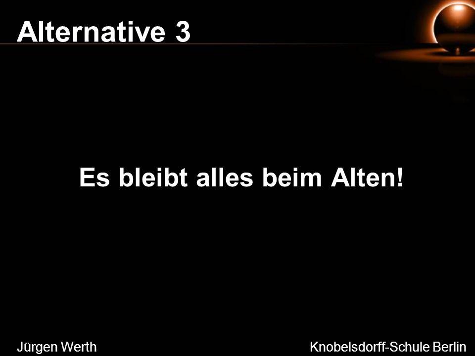 Alternative 3 Es bleibt alles beim Alten! Jürgen Werth Knobelsdorff-Schule Berlin
