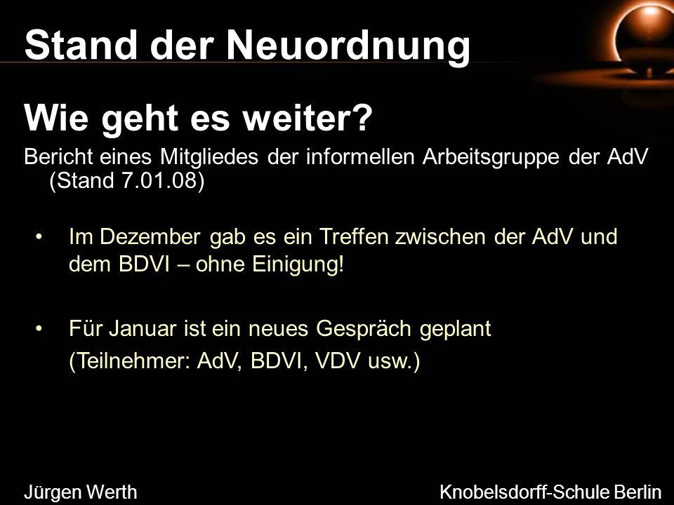 Stand der Neuordnung Wie geht es weiter? Bericht eines Mitgliedes der informellen Arbeitsgruppe der AdV (Stand 7.01.08) Jürgen Werth Knobelsdorff-Schu