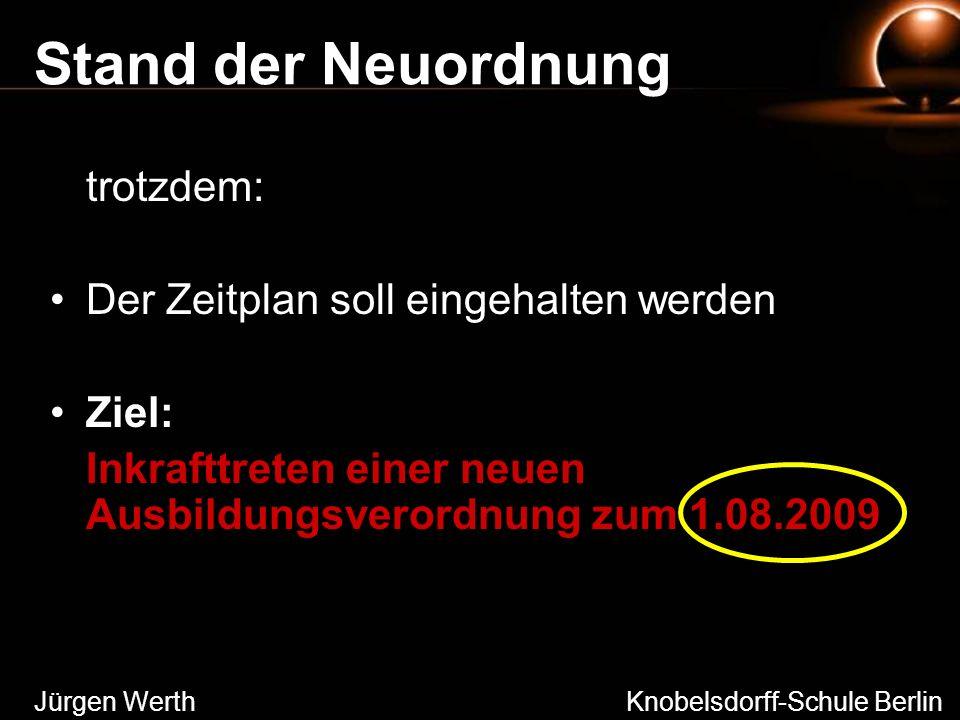 Stand der Neuordnung trotzdem: Der Zeitplan soll eingehalten werden Ziel: Inkrafttreten einer neuen Ausbildungsverordnung zum 1.08.2009 Jürgen Werth K