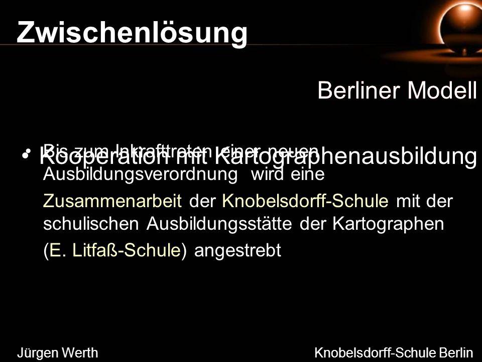 Zwischenlösung Berliner Modell Bis zum Inkrafttreten einer neuen Ausbildungsverordnung wird eine Zusammenarbeit der Knobelsdorff-Schule mit der schuli