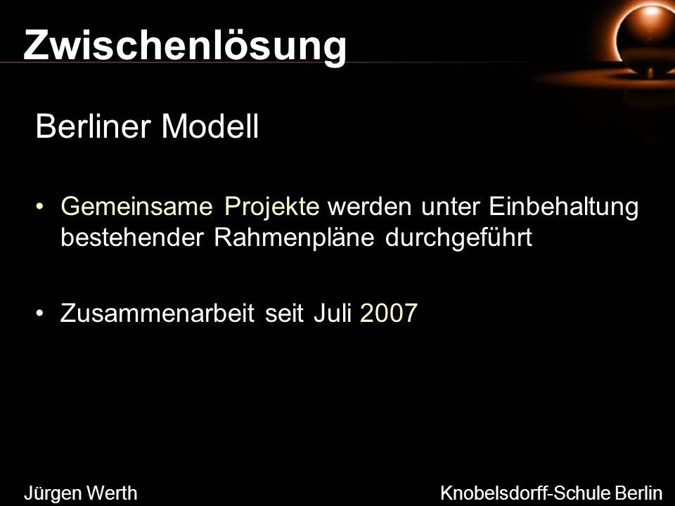 Zwischenlösung Berliner Modell Gemeinsame Projekte werden unter Einbehaltung bestehender Rahmenpläne durchgeführt Zusammenarbeit seit Juli 2007 Jürgen