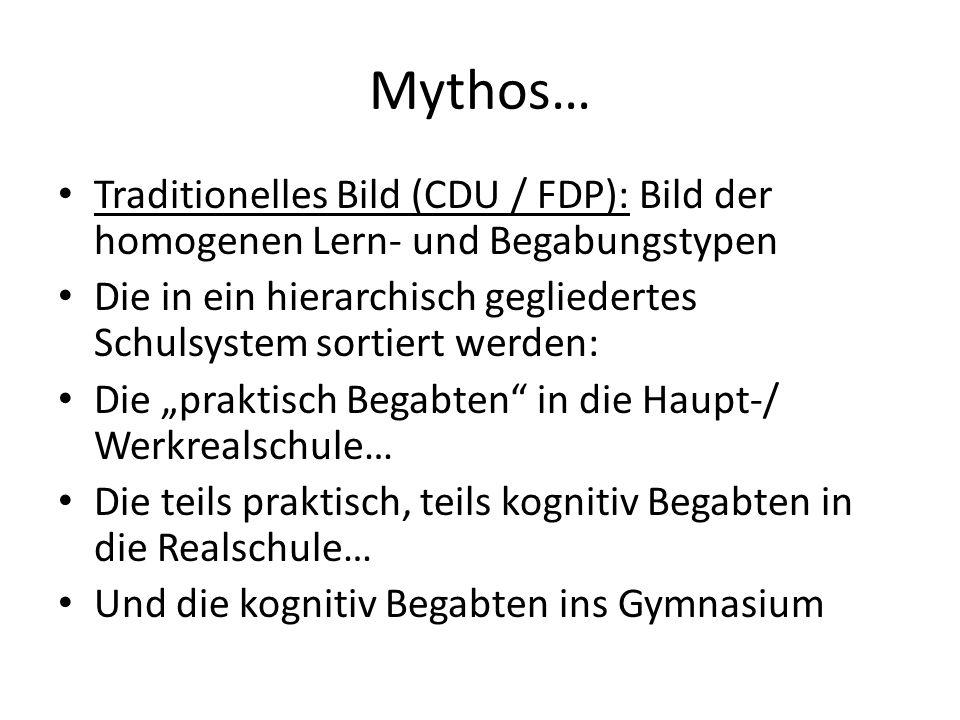 Mythos… Traditionelles Bild (CDU / FDP): Bild der homogenen Lern- und Begabungstypen Die in ein hierarchisch gegliedertes Schulsystem sortiert werden: