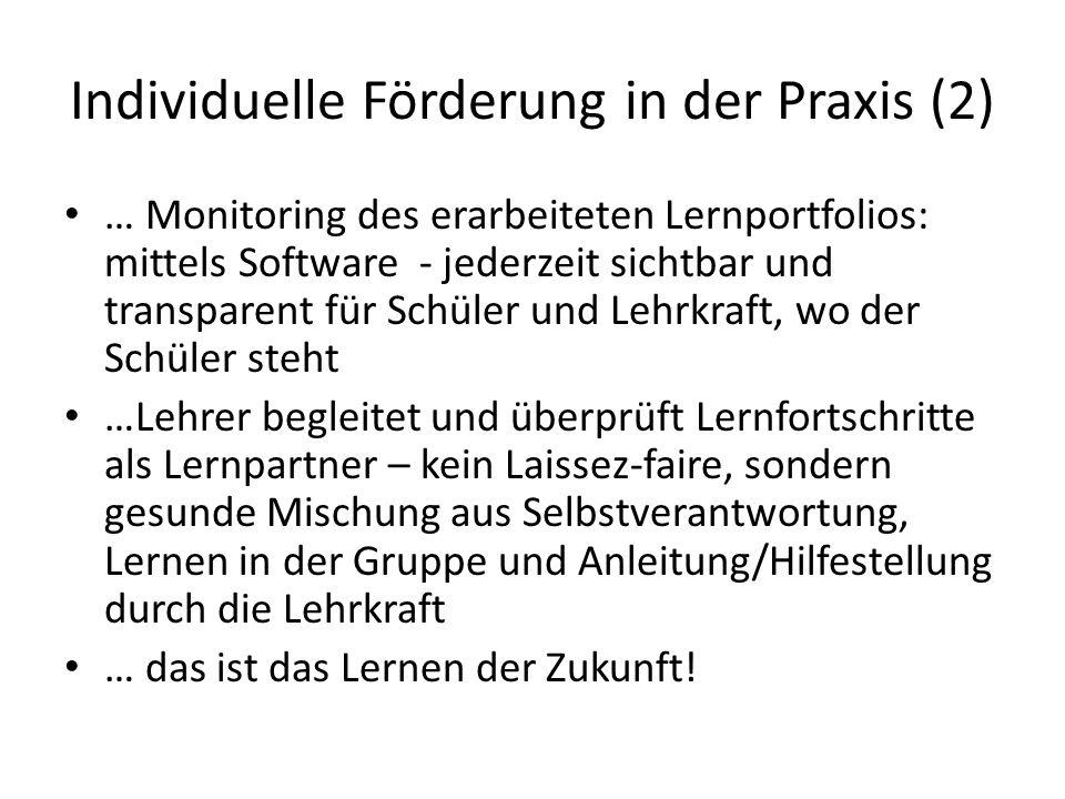 Individuelle Förderung in der Praxis (2) … Monitoring des erarbeiteten Lernportfolios: mittels Software - jederzeit sichtbar und transparent für Schül