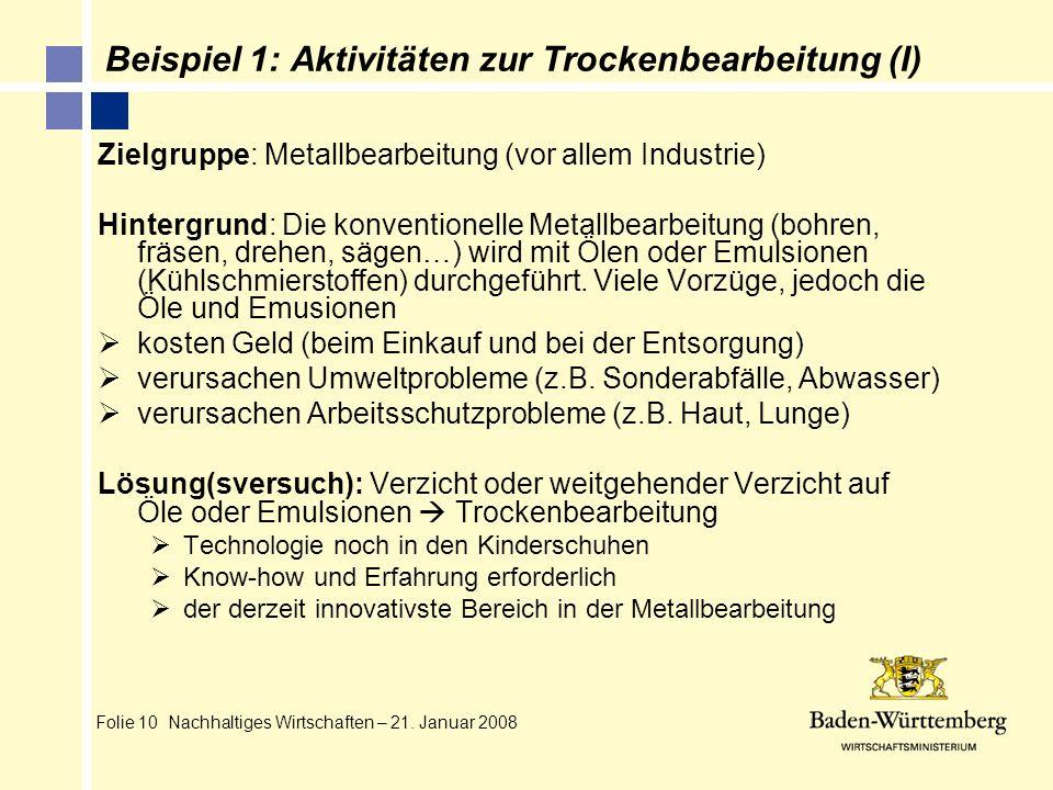 Folie 10 Nachhaltiges Wirtschaften – 21. Januar 2008 Beispiel 1: Aktivitäten zur Trockenbearbeitung (I) Zielgruppe: Metallbearbeitung (vor allem Indus