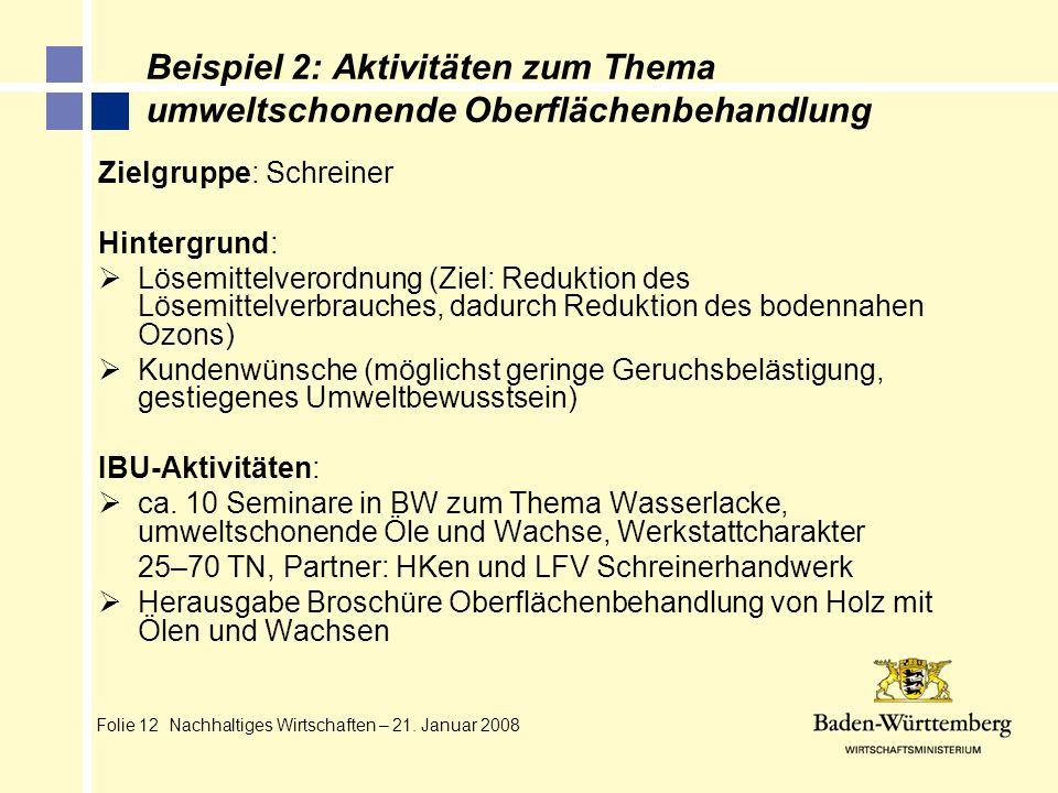 Folie 12 Nachhaltiges Wirtschaften – 21. Januar 2008 Beispiel 2: Aktivitäten zum Thema umweltschonende Oberflächenbehandlung Zielgruppe: Schreiner Hin