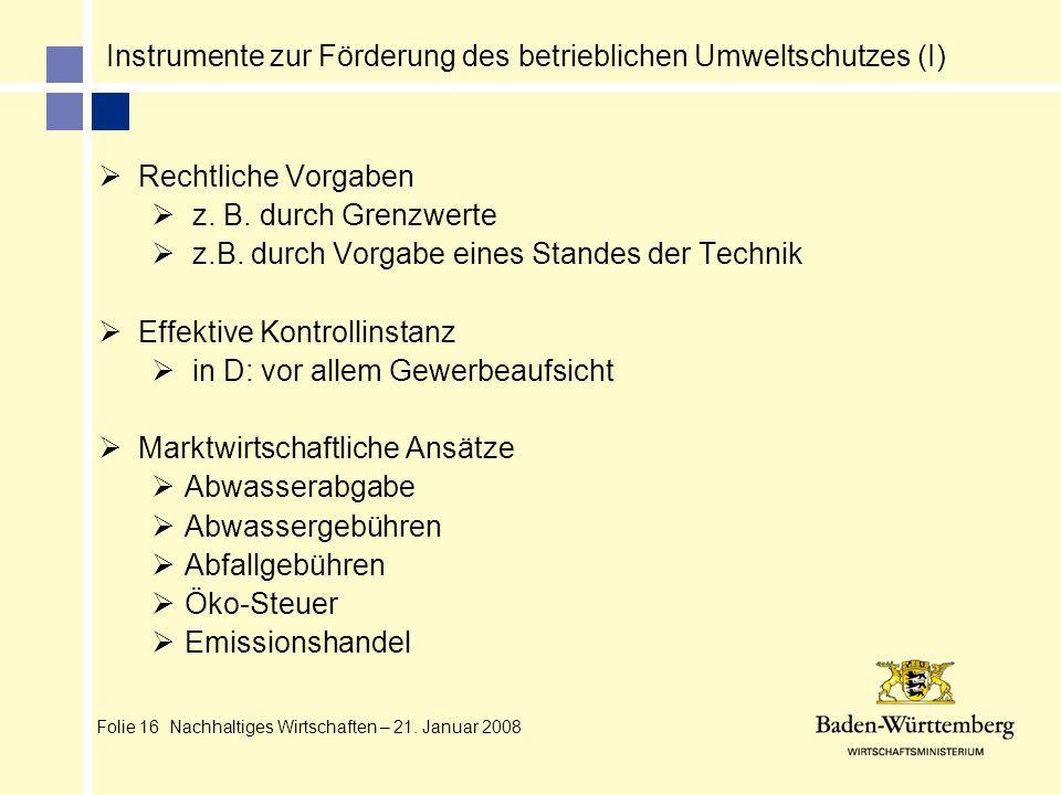 Folie 16 Nachhaltiges Wirtschaften – 21. Januar 2008 Instrumente zur Förderung des betrieblichen Umweltschutzes (I) Rechtliche Vorgaben z. B. durch Gr