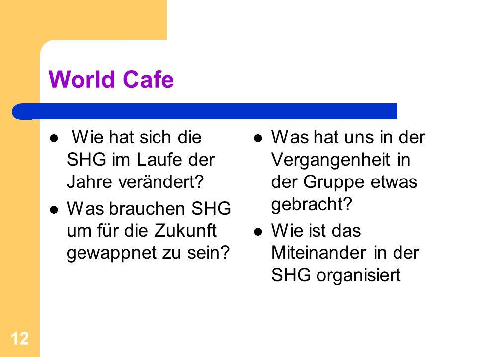 World Cafe Wie hat sich die SHG im Laufe der Jahre verändert? Was brauchen SHG um für die Zukunft gewappnet zu sein? Was hat uns in der Vergangenheit