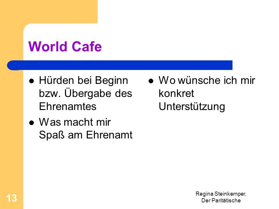 World Cafe Hürden bei Beginn bzw. Übergabe des Ehrenamtes Was macht mir Spaß am Ehrenamt Wo wünsche ich mir konkret Unterstützung Regina Steinkemper,