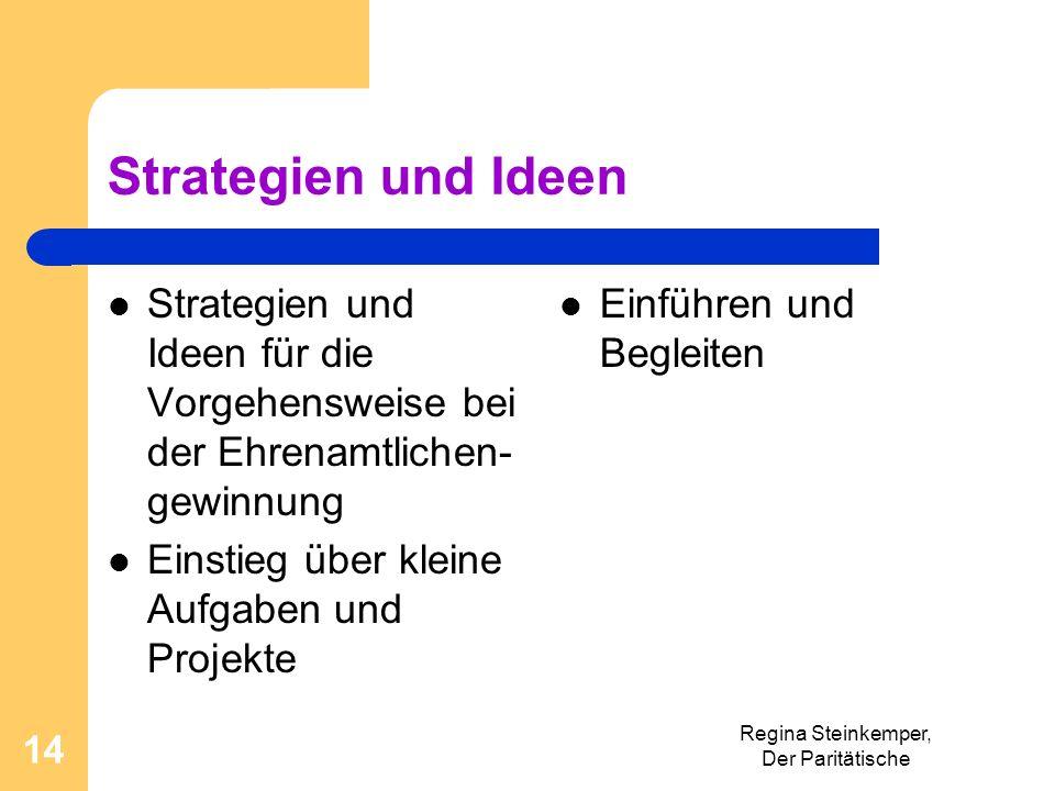 Strategien und Ideen Strategien und Ideen für die Vorgehensweise bei der Ehrenamtlichen- gewinnung Einstieg über kleine Aufgaben und Projekte Einführe