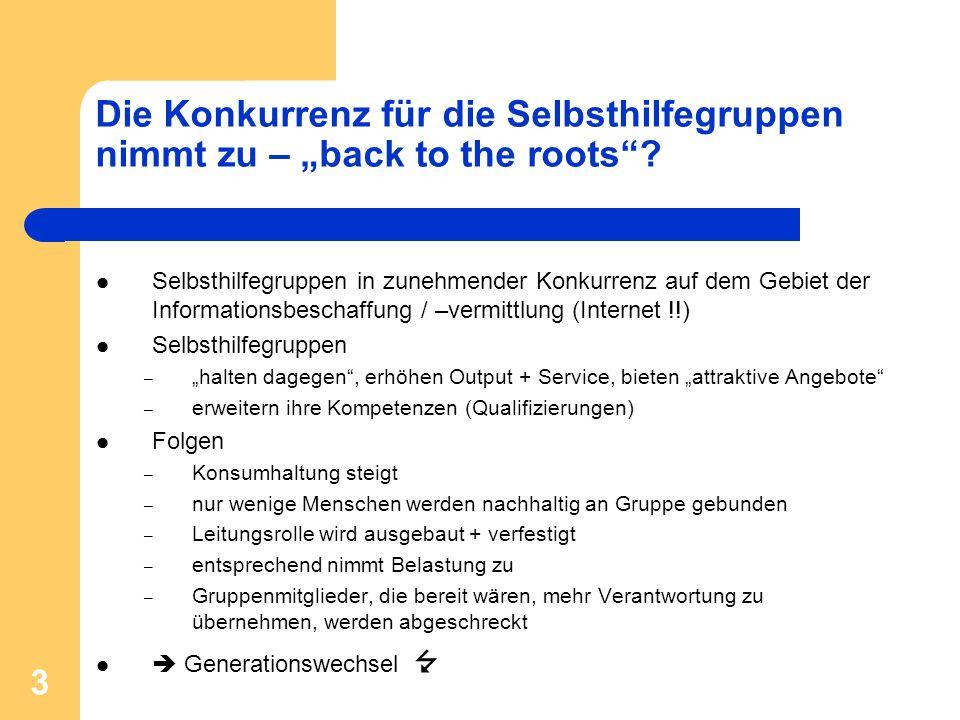 3 Die Konkurrenz für die Selbsthilfegruppen nimmt zu – back to the roots? Selbsthilfegruppen in zunehmender Konkurrenz auf dem Gebiet der Informations