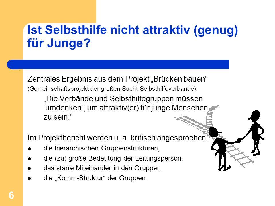 6 Ist Selbsthilfe nicht attraktiv (genug) für Junge? Zentrales Ergebnis aus dem Projekt Brücken bauen (Gemeinschaftsprojekt der großen Sucht-Selbsthil