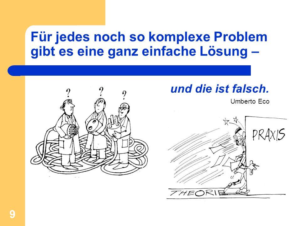 9 Für jedes noch so komplexe Problem gibt es eine ganz einfache Lösung – und die ist falsch. Umberto Eco