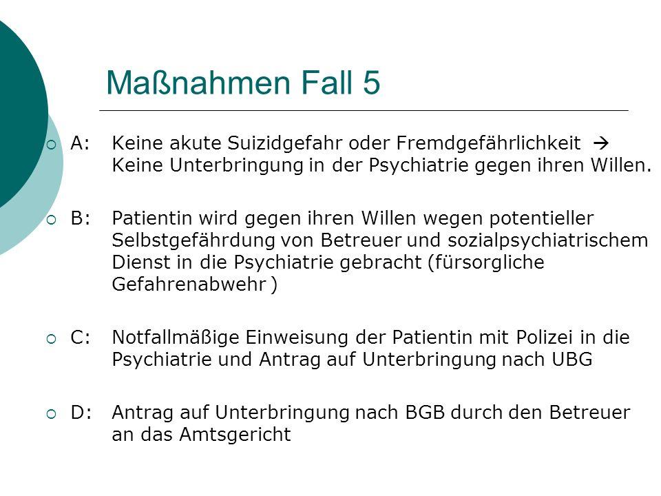 Maßnahmen Fall 5 A:Keine akute Suizidgefahr oder Fremdgefährlichkeit Keine Unterbringung in der Psychiatrie gegen ihren Willen.