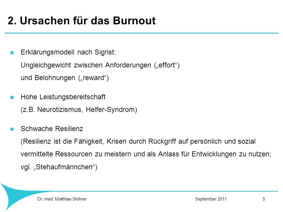 2. Ursachen für das Burnout Erklärungsmodell nach Sigrist: Ungleichgewicht zwischen Anforderungen (effort) und Belohnungen (reward) Hohe Leistungsbere
