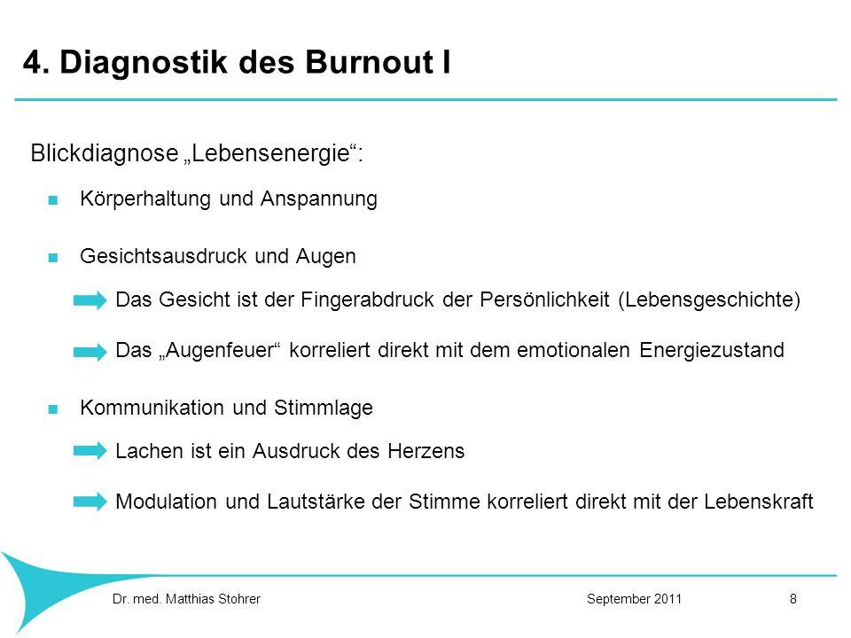 4. Diagnostik des Burnout I Blickdiagnose Lebensenergie: Körperhaltung und Anspannung Gesichtsausdruck und Augen Das Gesicht ist der Fingerabdruck der