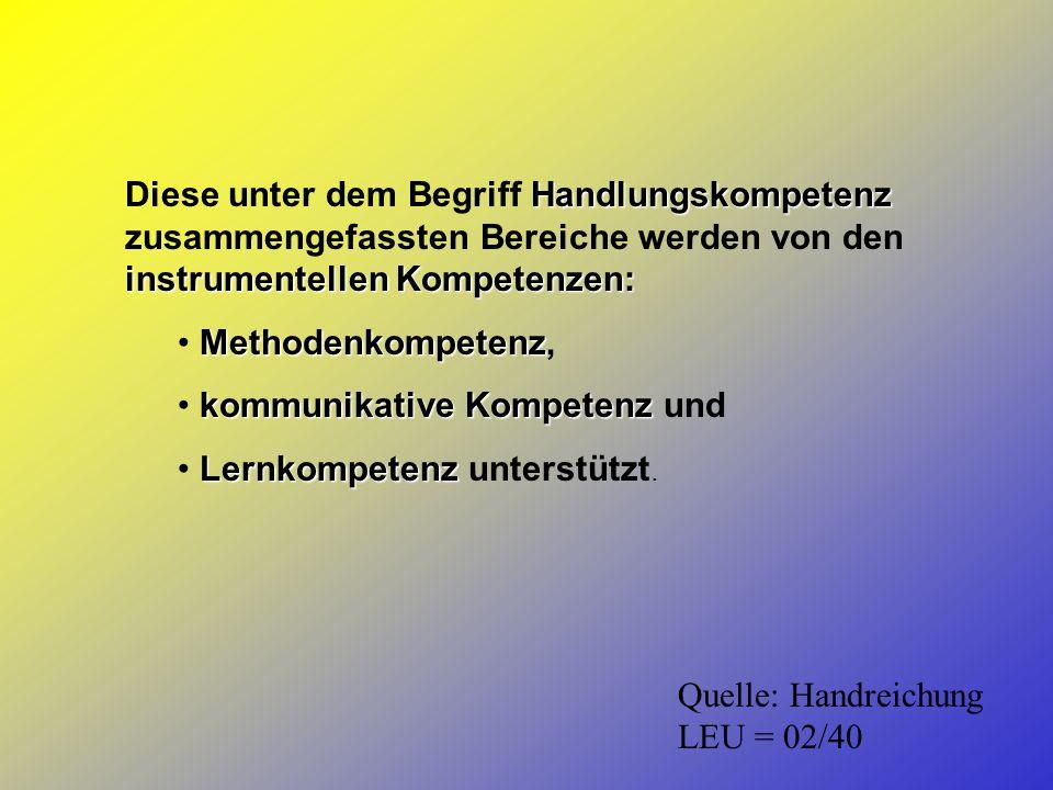 Handlungskompetenz instrumentellen Kompetenzen: Diese unter dem Begriff Handlungskompetenz zusammengefassten Bereiche werden von den instrumentellen K