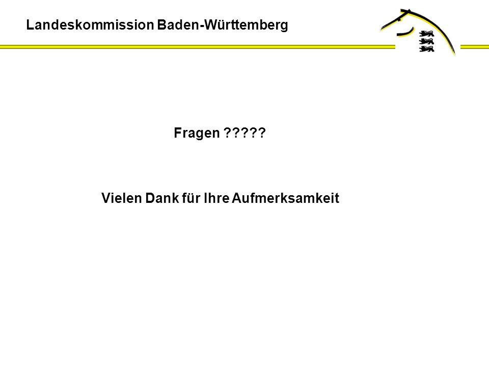 Fragen ????? Vielen Dank für Ihre Aufmerksamkeit Landeskommission Baden-Württemberg