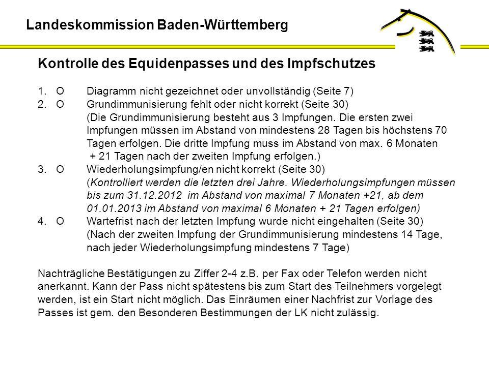 Kontrolle des Equidenpasses und des Impfschutzes 1.O Diagramm nicht gezeichnet oder unvollständig (Seite 7) 2.OGrundimmunisierung fehlt oder nicht kor