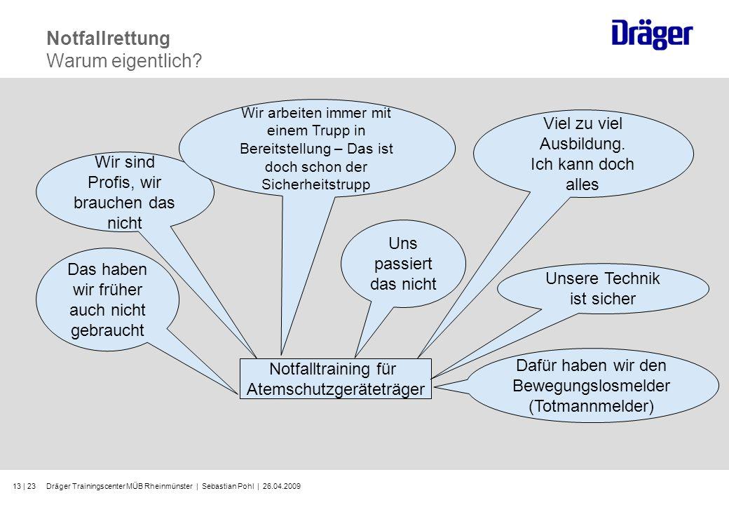 Dräger Trainingscenter MÜB Rheinmünster | Sebastian Pohl | 26.04.200913 | 23 Notfallrettung Warum eigentlich? Wir sind Profis, wir brauchen das nicht