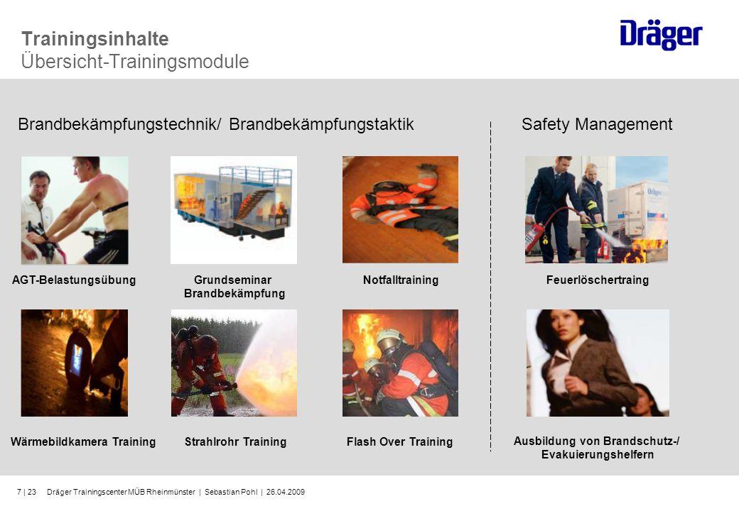 Dräger Trainingscenter MÜB Rheinmünster | Sebastian Pohl | 26.04.20097 | 23 Trainingsinhalte Übersicht-Trainingsmodule AGT-BelastungsübungGrundseminar