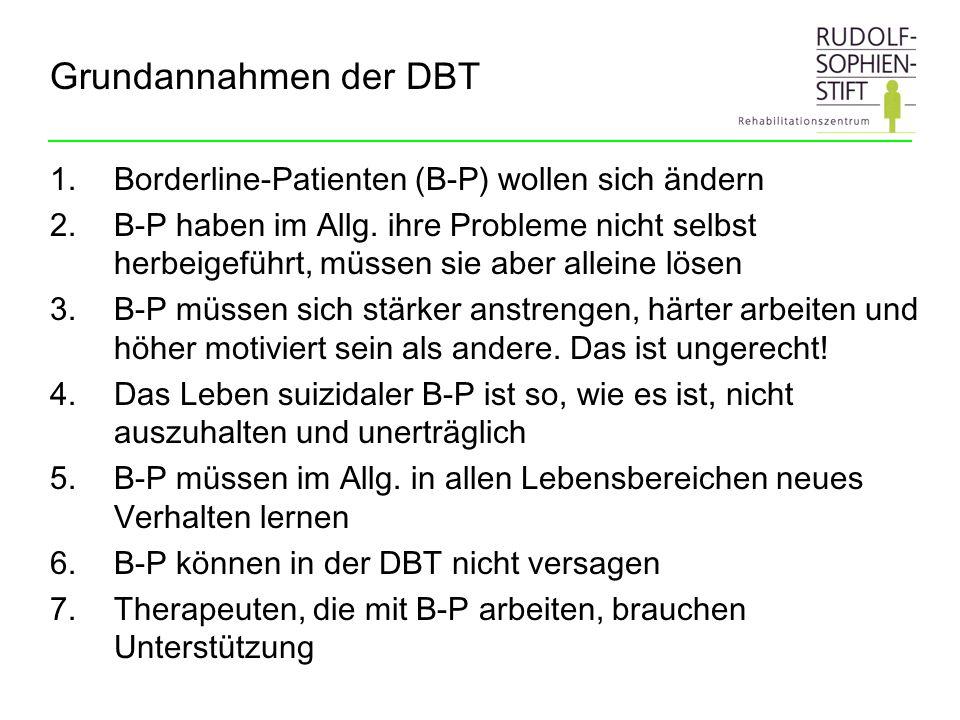 Grundannahmen der DBT 1.Borderline-Patienten (B-P) wollen sich ändern 2.B-P haben im Allg. ihre Probleme nicht selbst herbeigeführt, müssen sie aber a