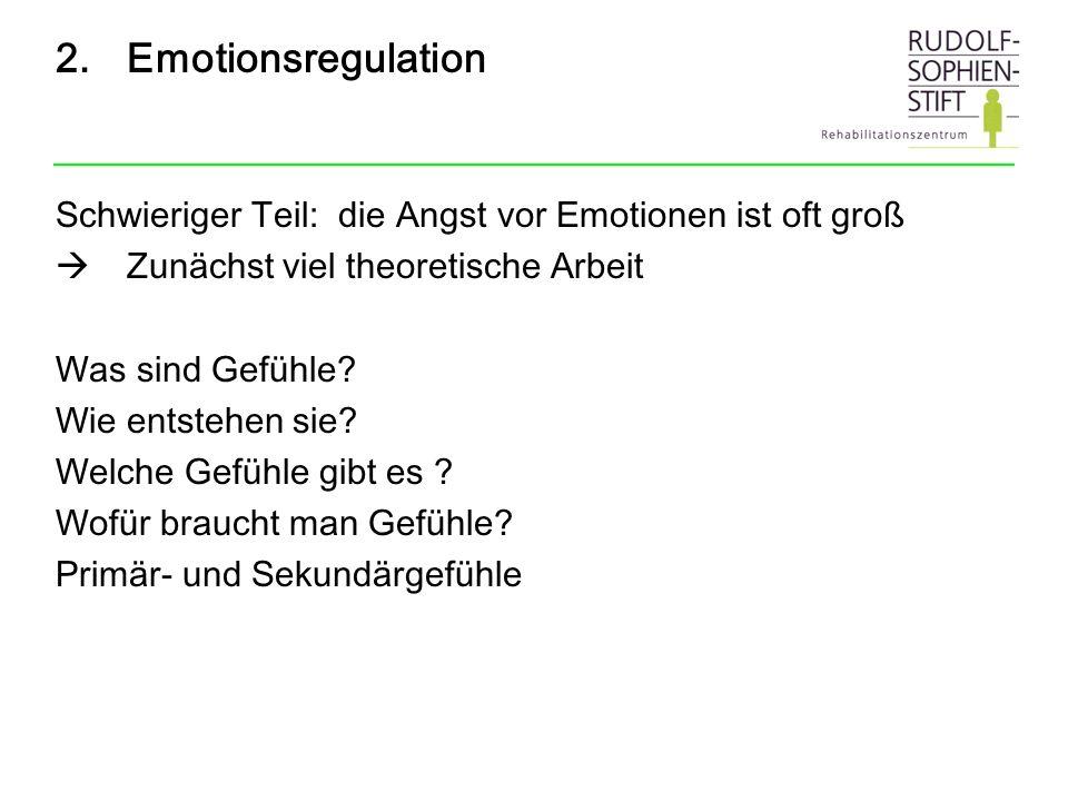2.Emotionsregulation Schwieriger Teil: die Angst vor Emotionen ist oft groß Zunächst viel theoretische Arbeit Was sind Gefühle? Wie entstehen sie? Wel