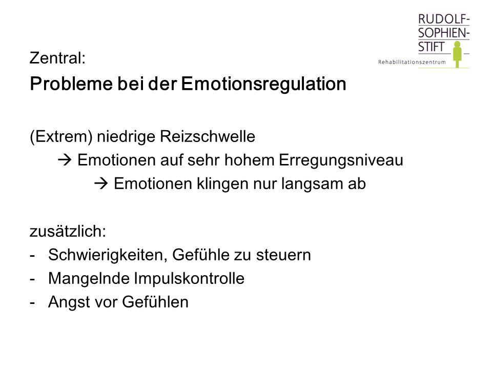 Zentral: Probleme bei der Emotionsregulation (Extrem) niedrige Reizschwelle Emotionen auf sehr hohem Erregungsniveau Emotionen klingen nur langsam ab
