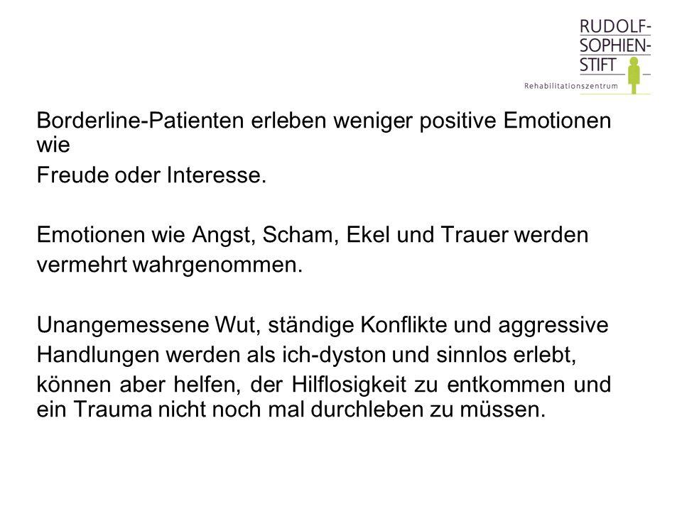 Borderline-Patienten erleben weniger positive Emotionen wie Freude oder Interesse. Emotionen wie Angst, Scham, Ekel und Trauer werden vermehrt wahrgen