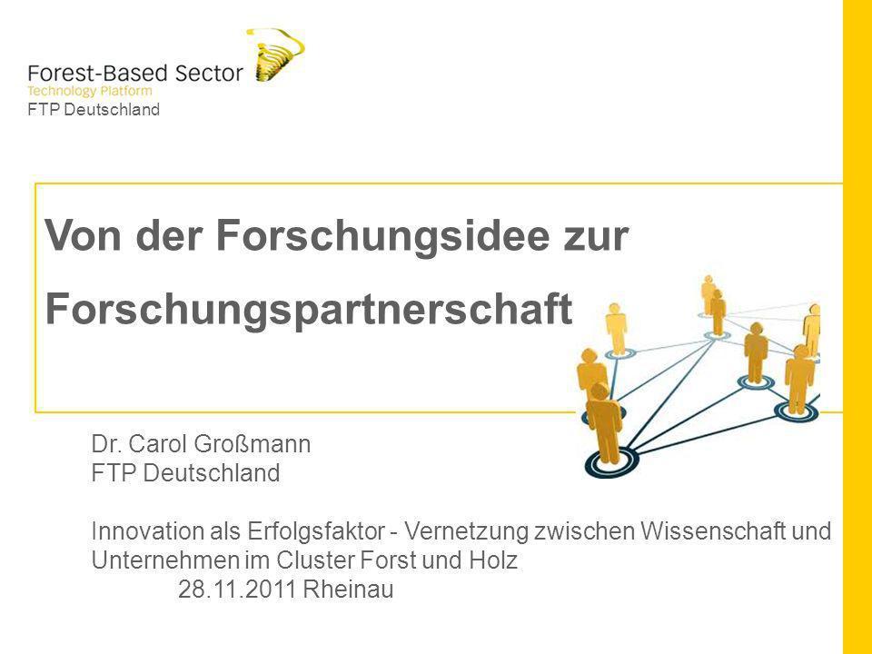FTP Deutschland Von der Forschungsidee zur Forschungspartnerschaft Dr. Carol Großmann FTP Deutschland Innovation als Erfolgsfaktor - Vernetzung zwisch