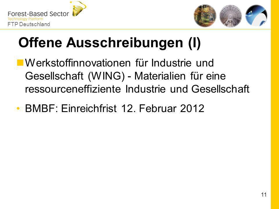 FTP Deutschland 11 Offene Ausschreibungen (I) Werkstoffinnovationen für Industrie und Gesellschaft (WING) - Materialien für eine ressourceneffiziente