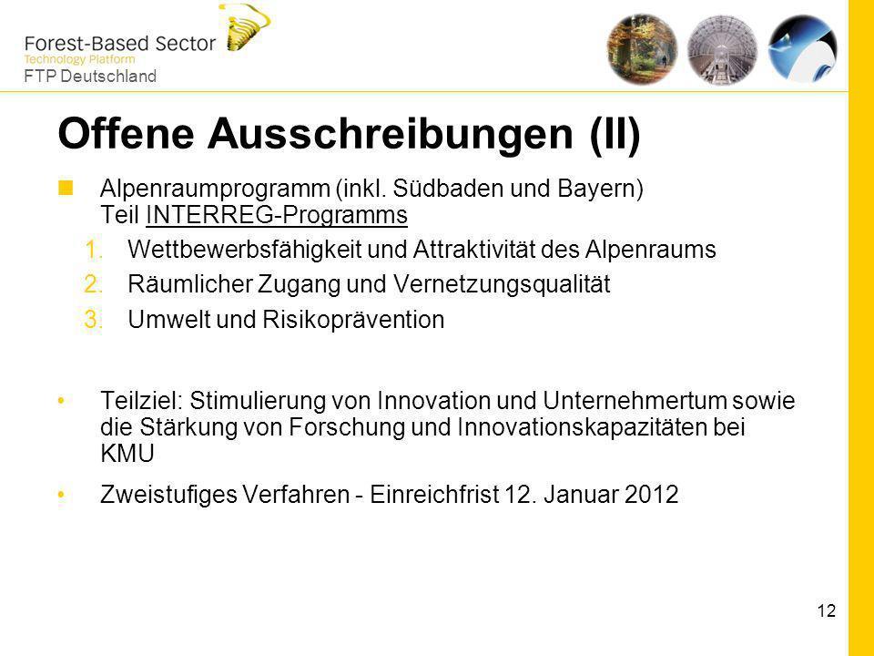 FTP Deutschland 12 Offene Ausschreibungen (II) Alpenraumprogramm (inkl. Südbaden und Bayern) Teil INTERREG-ProgrammsINTERREG-Programms 1.Wettbewerbsfä