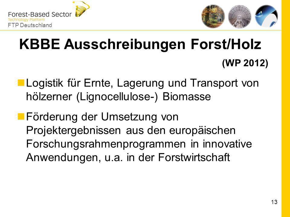 FTP Deutschland 13 KBBE Ausschreibungen Forst/Holz (WP 2012) Logistik für Ernte, Lagerung und Transport von hölzerner (Lignocellulose-) Biomasse Förde