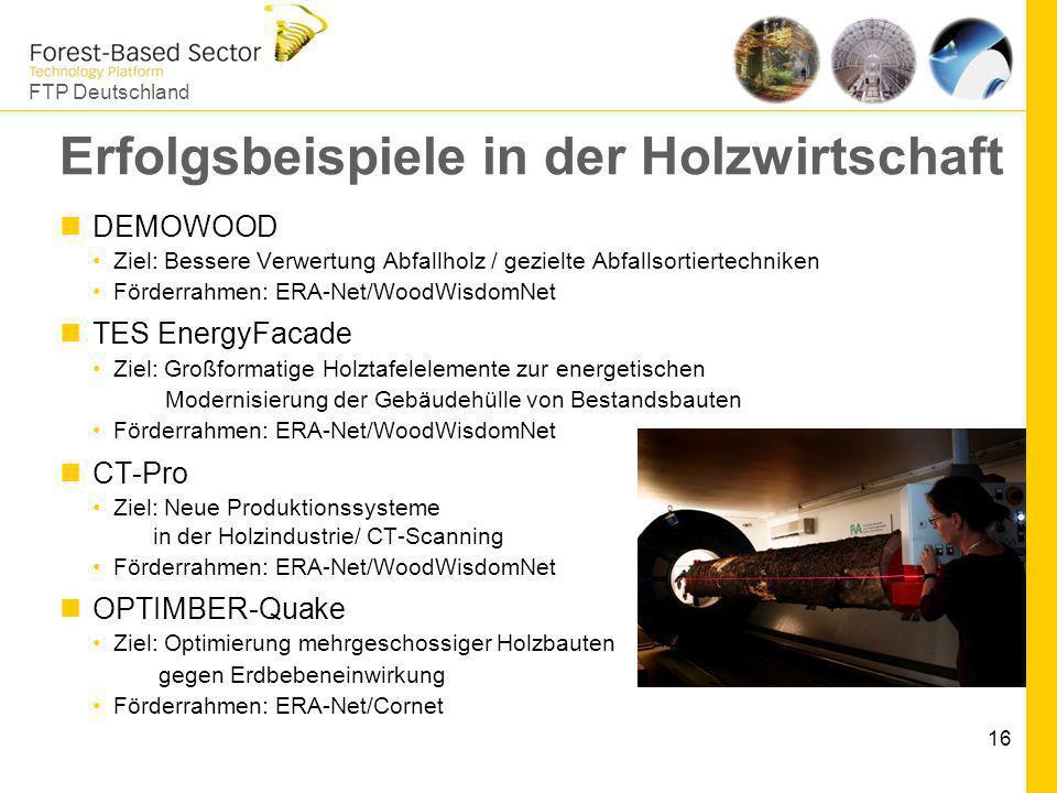 FTP Deutschland 16 Erfolgsbeispiele in der Holzwirtschaft DEMOWOOD Ziel: Bessere Verwertung Abfallholz / gezielte Abfallsortiertechniken Förderrahmen: