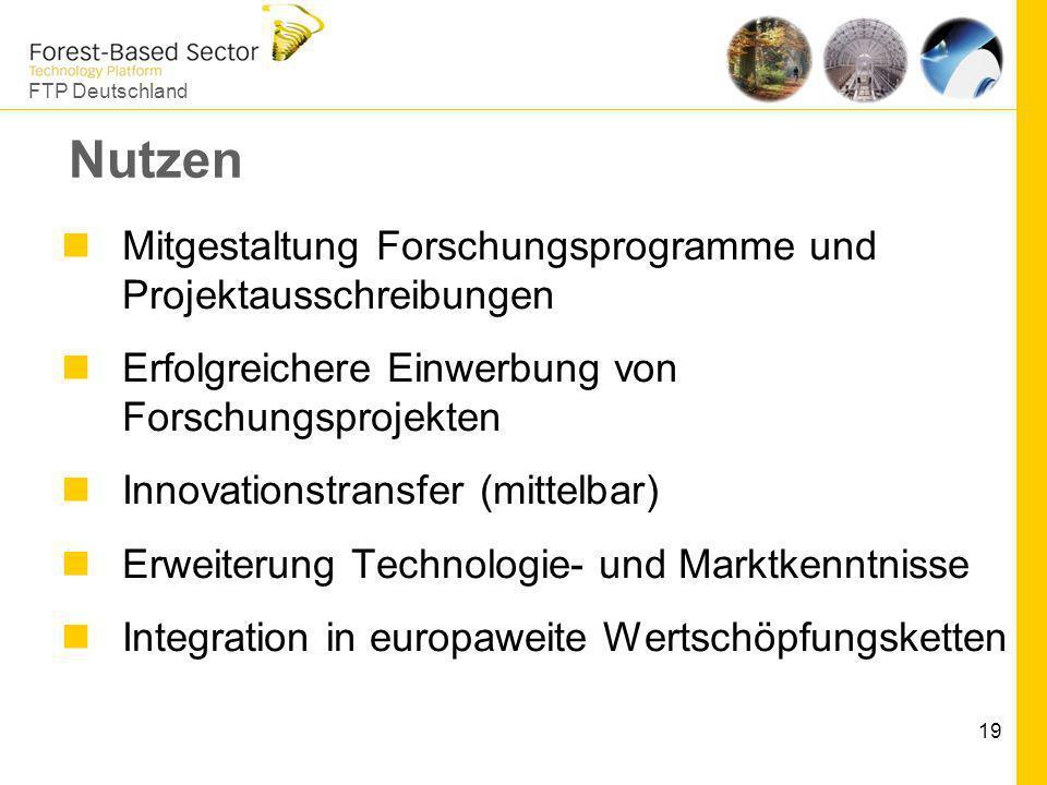 FTP Deutschland 19 Nutzen Mitgestaltung Forschungsprogramme und Projektausschreibungen Erfolgreichere Einwerbung von Forschungsprojekten Innovationstr