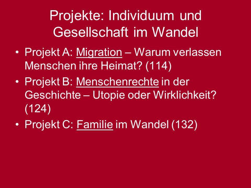Projekte: Individuum und Gesellschaft im Wandel Projekt A: Migration – Warum verlassen Menschen ihre Heimat? (114) Projekt B: Menschenrechte in der Ge