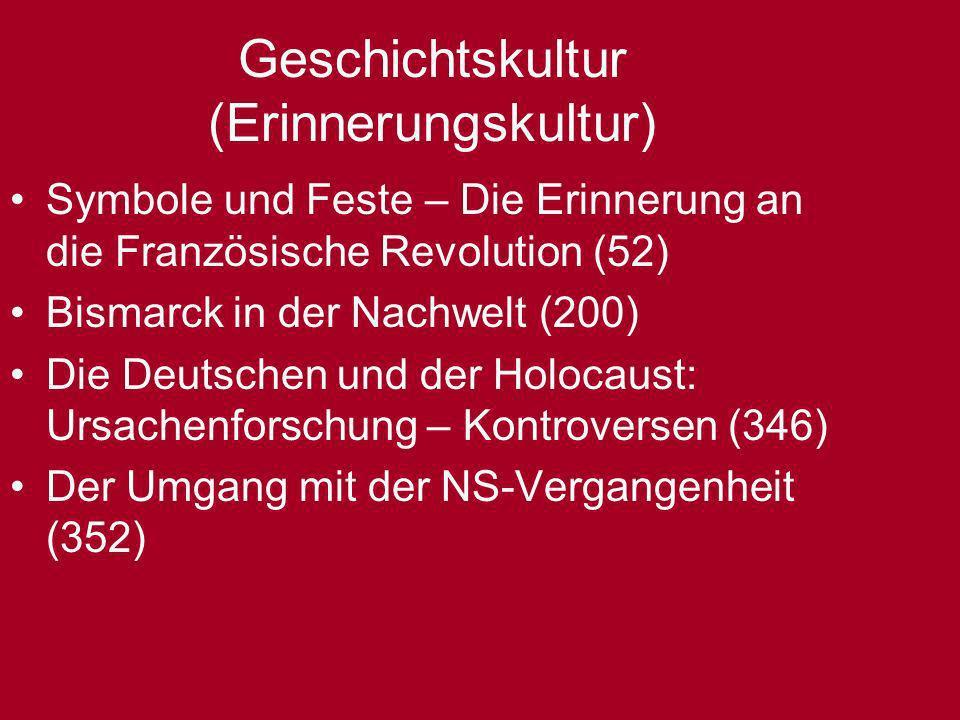 Geschichtskultur (Erinnerungskultur) Symbole und Feste – Die Erinnerung an die Französische Revolution (52) Bismarck in der Nachwelt (200) Die Deutsch