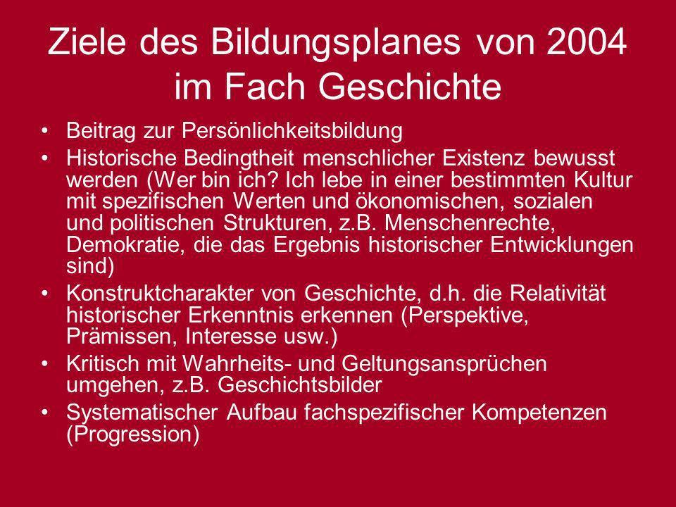 Ziele des Bildungsplanes von 2004 im Fach Geschichte Beitrag zur Persönlichkeitsbildung Historische Bedingtheit menschlicher Existenz bewusst werden (
