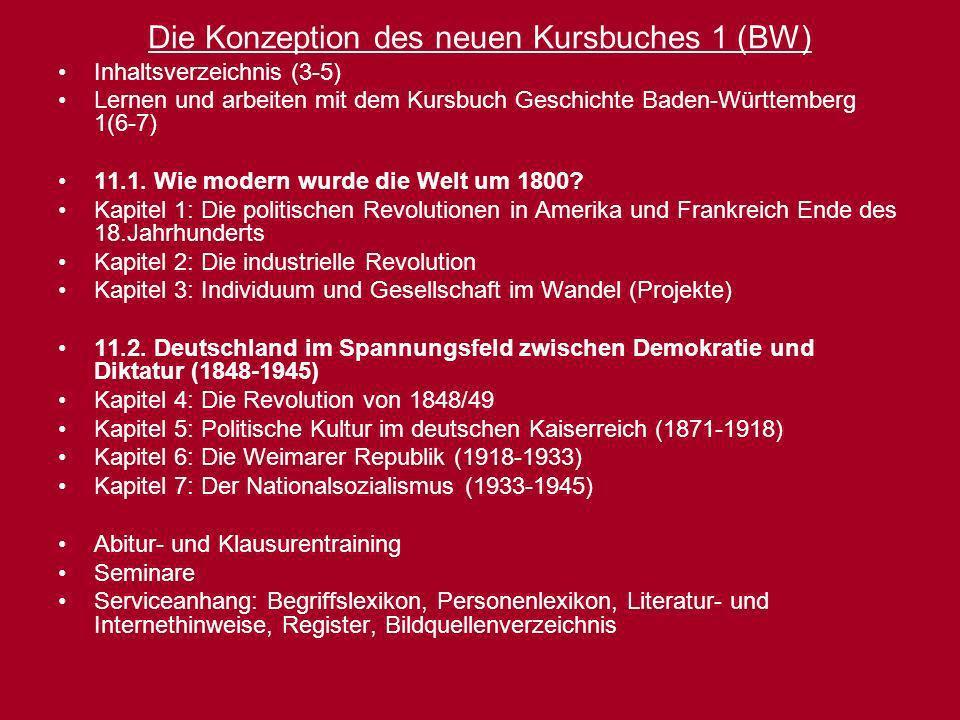 Die Konzeption des neuen Kursbuches 1 (BW) Inhaltsverzeichnis (3-5) Lernen und arbeiten mit dem Kursbuch Geschichte Baden-Württemberg 1(6-7) 11.1. Wie