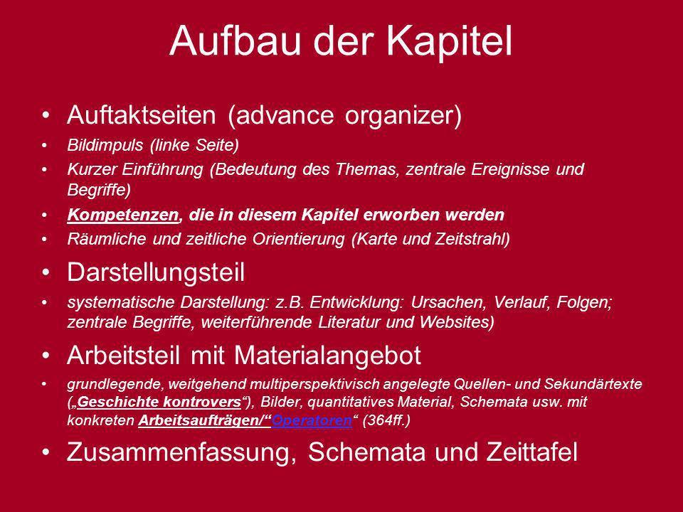 Aufbau der Kapitel Auftaktseiten (advance organizer) Bildimpuls (linke Seite) Kurzer Einführung (Bedeutung des Themas, zentrale Ereignisse und Begriff