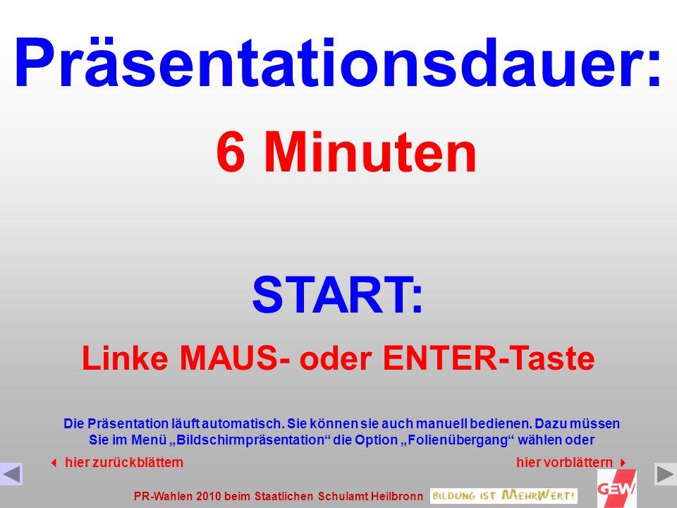PR-Wahlen 2010 beim Staatlichen Schulamt Heilbronn1 Präsentationsdauer: START: Die Präsentation läuft automatisch.