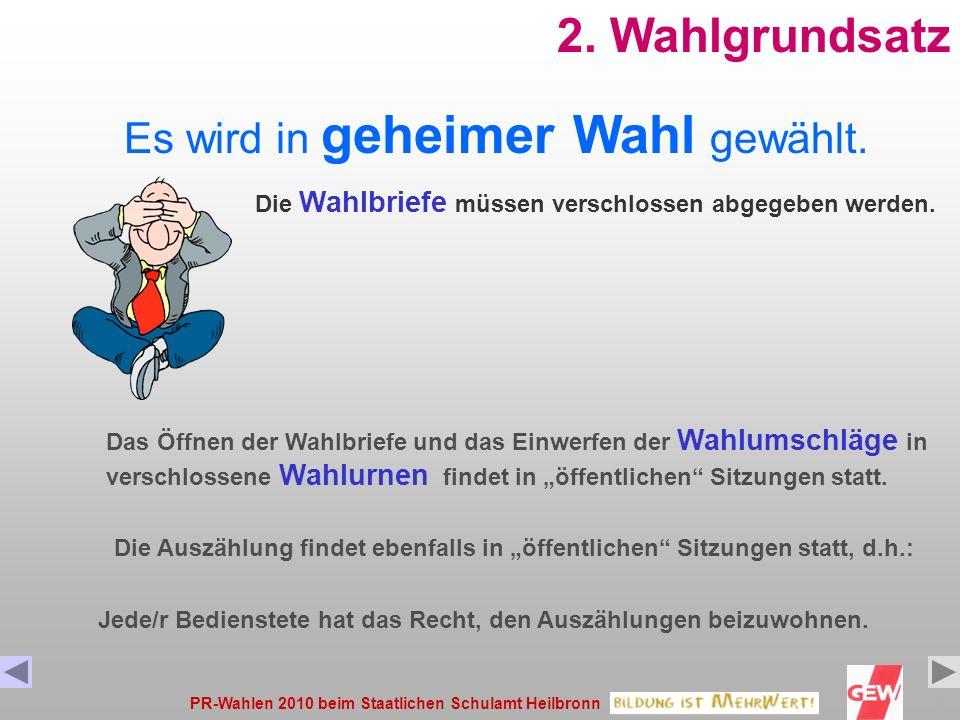 PR-Wahlen 2010 beim Staatlichen Schulamt Heilbronn12 ÖPRBPRHPR Wahlbrief Briefwahl- erklärung Vollständig ausfüllen ! Stimmzettel ÖPR Stimmzettel BPR