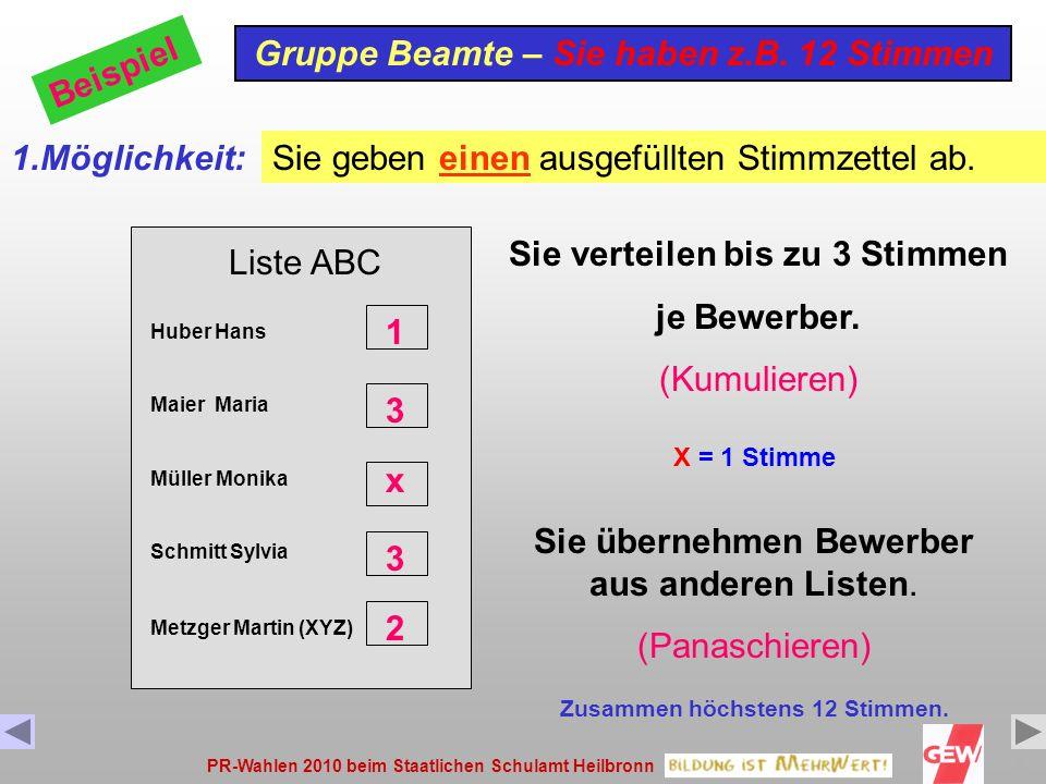 PR-Wahlen 2010 beim Staatlichen Schulamt Heilbronn8 Liste ABC Huber Hans Maier Maria Müller Monika Schmitt Sylvia Gruppe Beamte – Sie haben z.B.