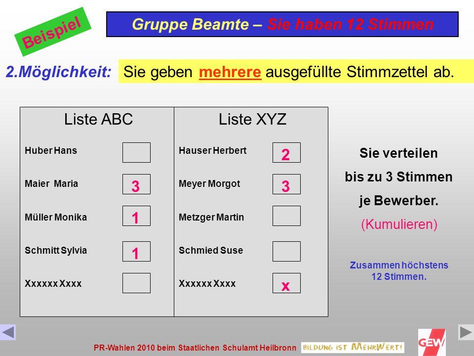 PR-Wahlen 2010 beim Staatlichen Schulamt Heilbronn9 Liste ABC Huber Hans Maier Maria Müller Monika Schmitt Sylvia Xxxxxx Xxxx Gruppe Beamte – Sie haben 12 Stimmen Beispiel 2.Möglichkeit: 3 1 Sie geben mehrere ausgefüllte Stimmzettel ab.