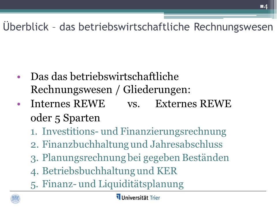 Das das betriebswirtschaftliche Rechnungswesen / Gliederungen: Internes REWE vs.Externes REWE oder 5 Sparten 1.Investitions- und Finanzierungsrechnung