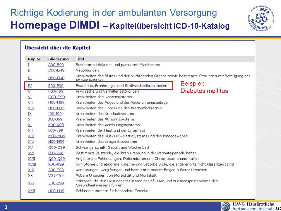 3 Richtige Kodierung in der ambulanten Versorgung Homepage DIMDI – Kapitelübersicht ICD-10-Katalog Beispiel: Diabetes mellitus