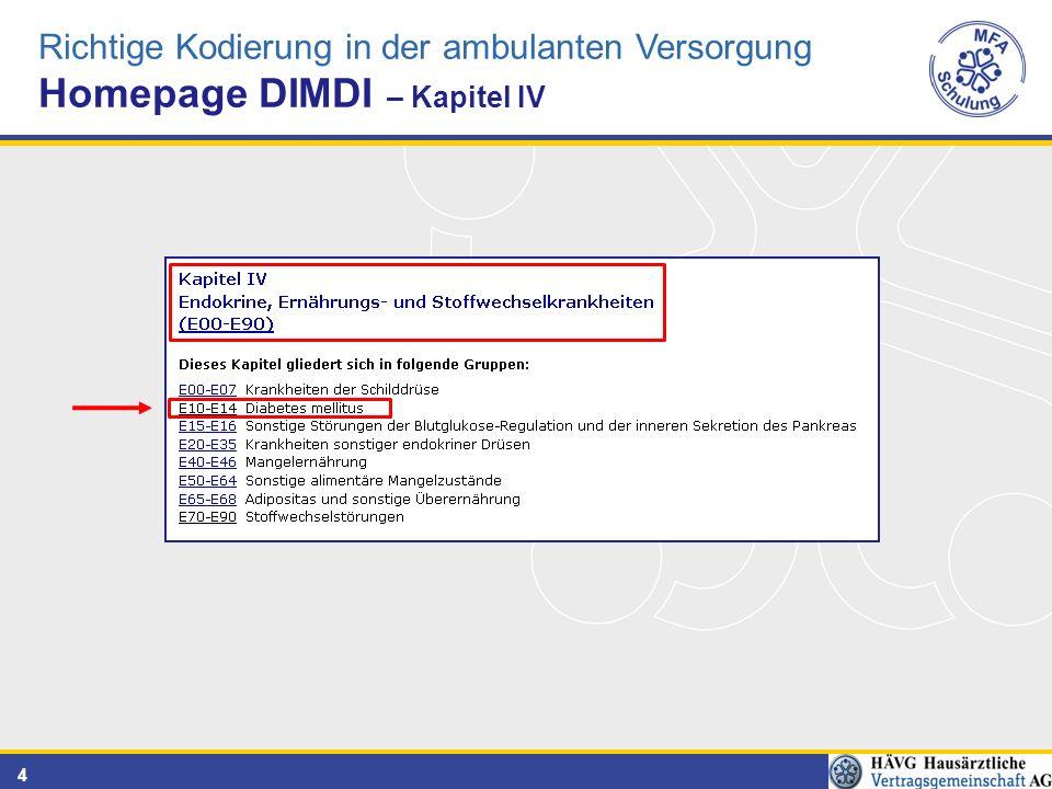4 Richtige Kodierung in der ambulanten Versorgung Homepage DIMDI – Kapitel IV