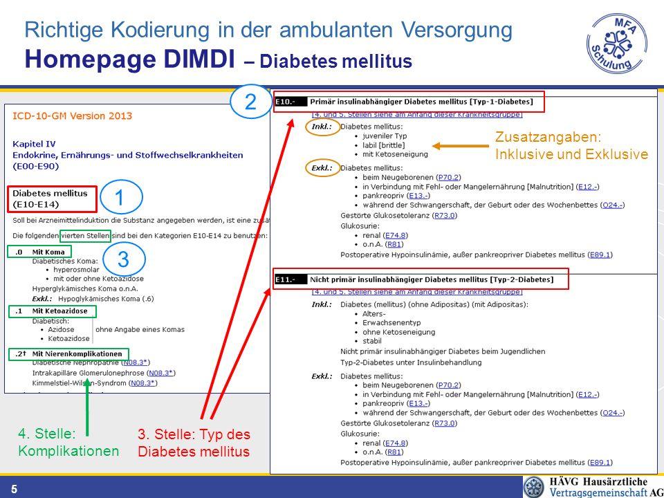 5 4. Stelle: Komplikationen 3. Stelle: Typ des Diabetes mellitus Zusatzangaben: Inklusive und Exklusive Richtige Kodierung in der ambulanten Versorgun