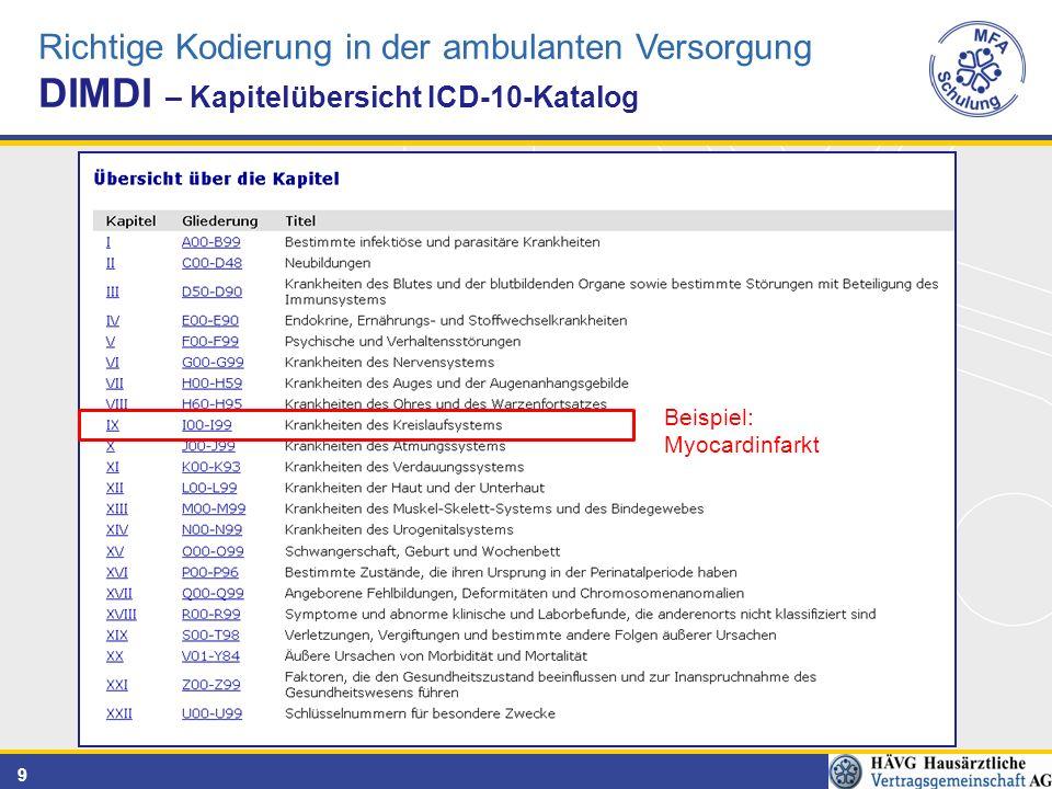 9 Richtige Kodierung in der ambulanten Versorgung DIMDI – Kapitelübersicht ICD-10-Katalog Beispiel: Myocardinfarkt